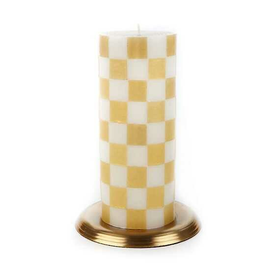"""Check Pillar Candle - 6"""" - Gold & Ivory"""