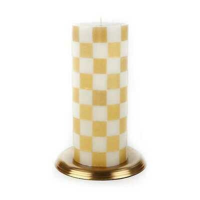 Check Pillar Candle 6 inch Gold & Ivory