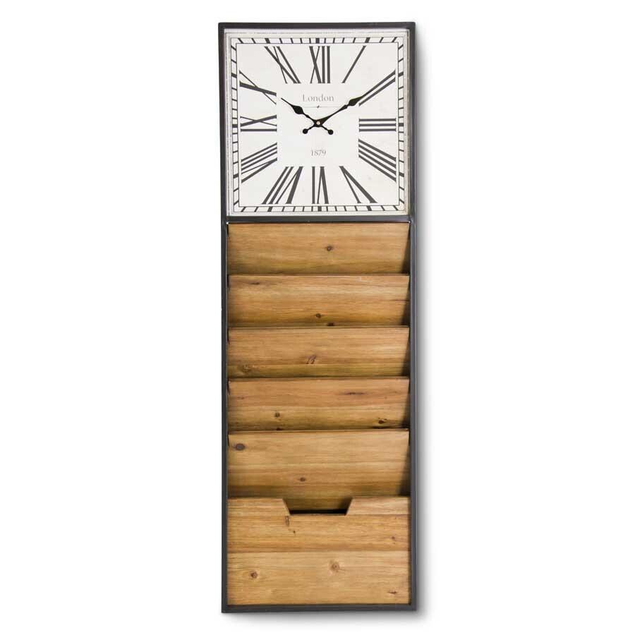 Metal and Wood Clock w/ File Organizer
