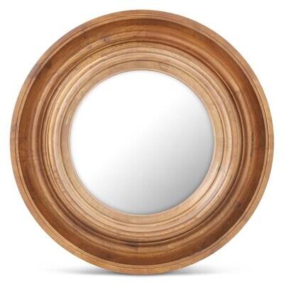 "34.25"" Round Brown Resin Porthole Convex Mirror"