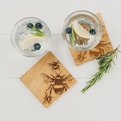 Bee Oak Coasters