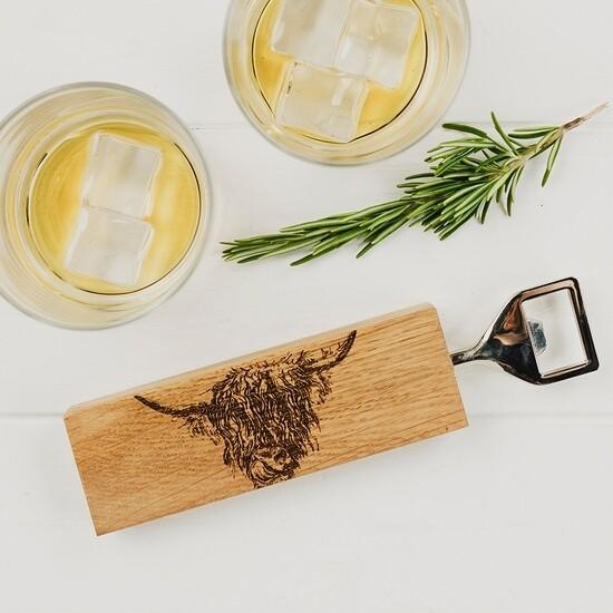 Highland Cow Oak Bottle Opener