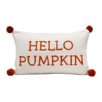 """20""""L x 12""""W Wool Pillow """"Hello Pumpkin"""""""