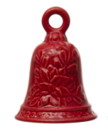 """5-1/2""""H Stoneware Bell Red"""