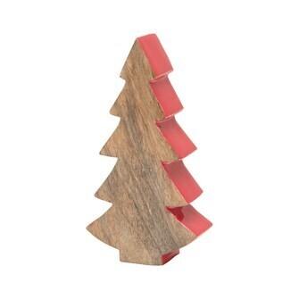 "3-1/4""L x 1-1/2""W x 6-1/4""H Mango Wood Christmas Tree Red"