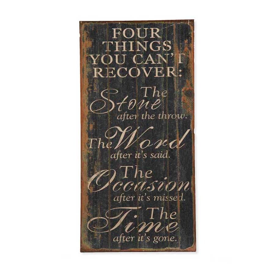 """Distressed Black Four Things Wall Sign - 32.5"""""""