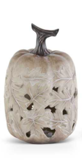 Tan Resin LED Pumpkin w/ Maple Leaf Cutout - Style B