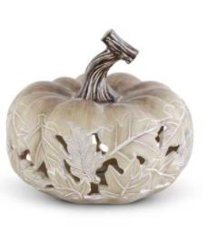 Tan Resin LED Pumpkin w/ Maple Leaf Cutout - Style A