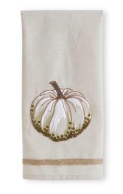 Cream Tea Towel w/ Embroidered Pumpkin