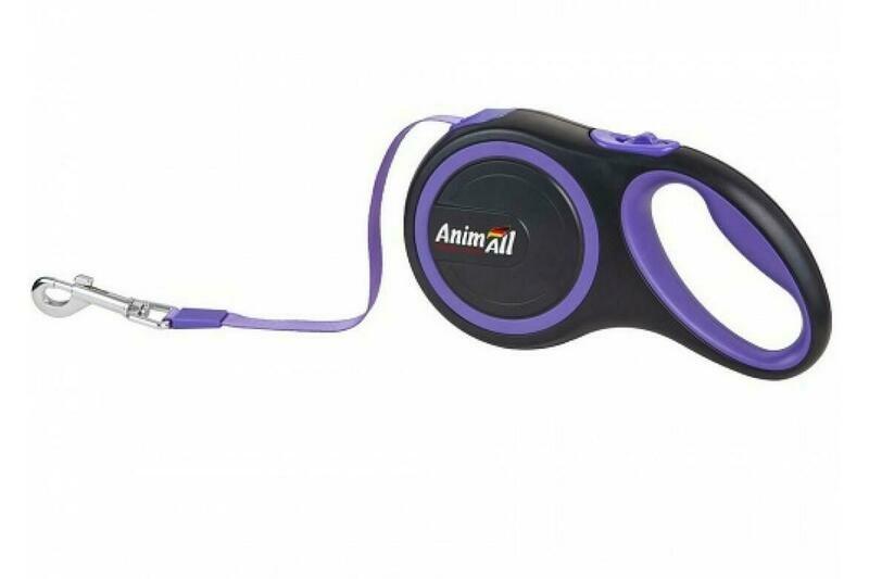 Поводок-рулетка AnimAll для собак весом до 50 кг, 5 м, фиолетовый
