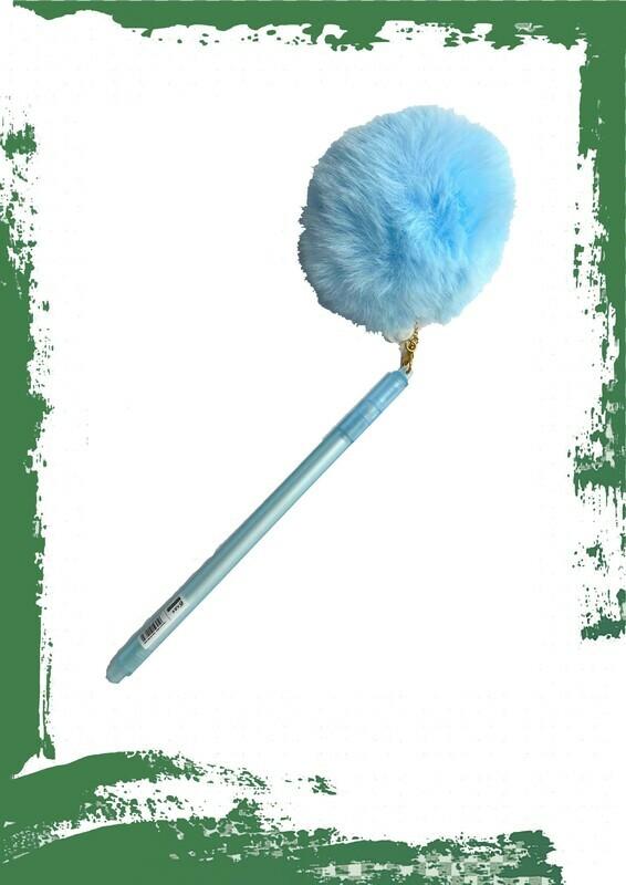 Blue gel pen - قلم جيل أزرق بغطاء فرو