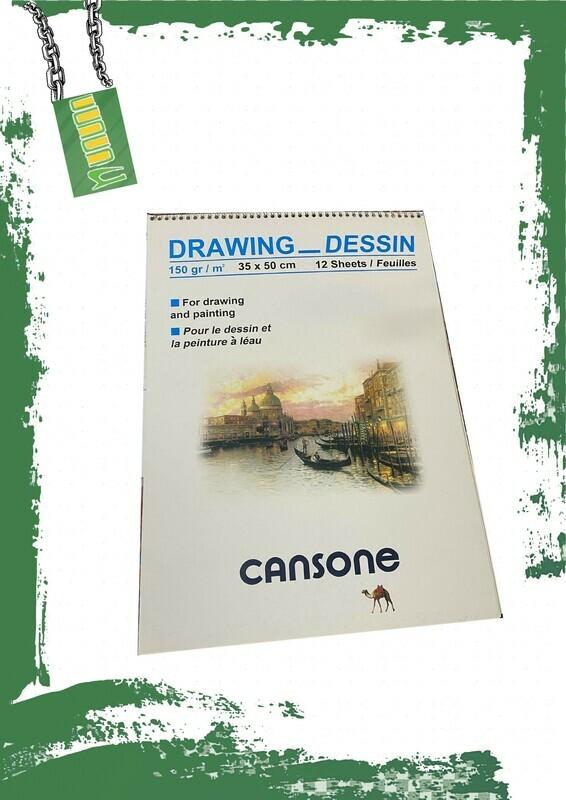 Cansone drawing sketch 150gm/m2 35*50 cm - دفتر رسم 150جم 12 ورقة
