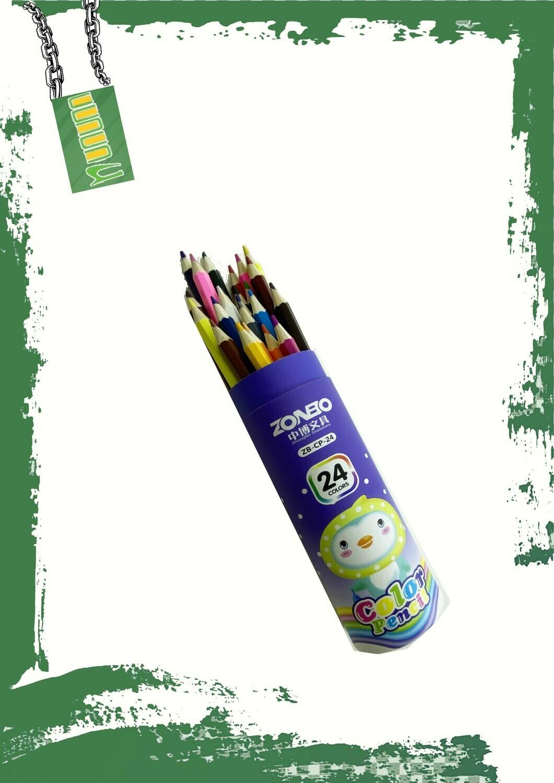 Color pencils 24 set (ZONBO) - طقم ألوان خشب 24 لون علبة اسطوانيه