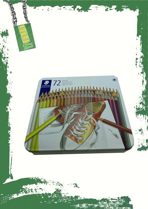 STAEDTLER 72 Pencil colors with metal case - 72 لون خشب استدلر بعلبة معدن