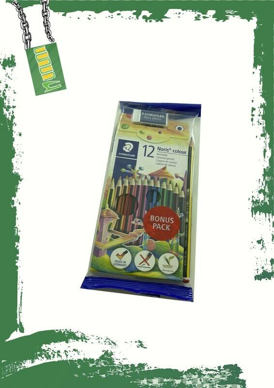 STAEDTLER 12 pencil colors + shapener+eraser - 12 لون خشب + جومة وبرايه