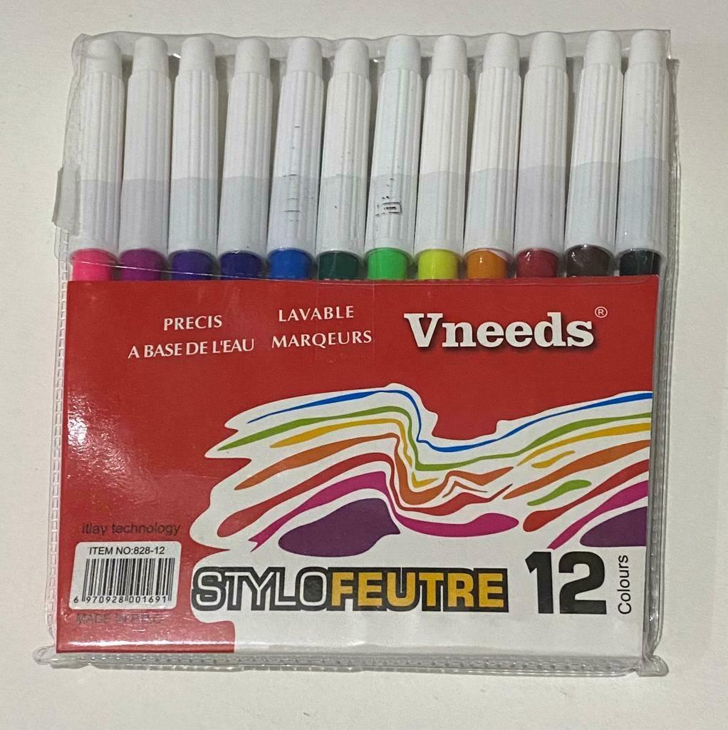 Marker colors 12 set - طقم ألوان فلوماستر 12 لون رفيع