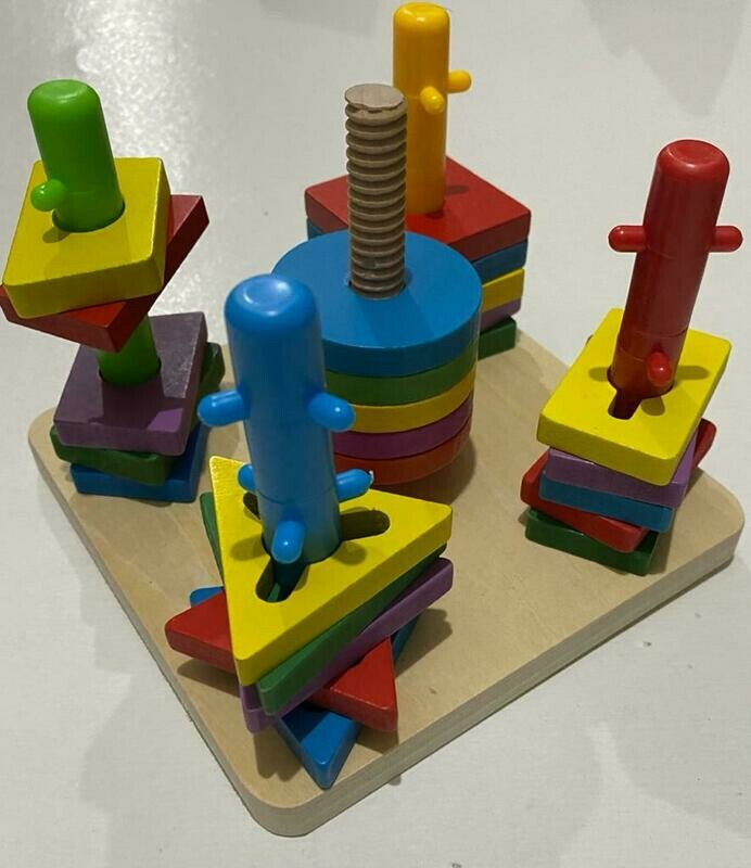 لعبه تعليميه - أشكال هندسية - 5 عواميد