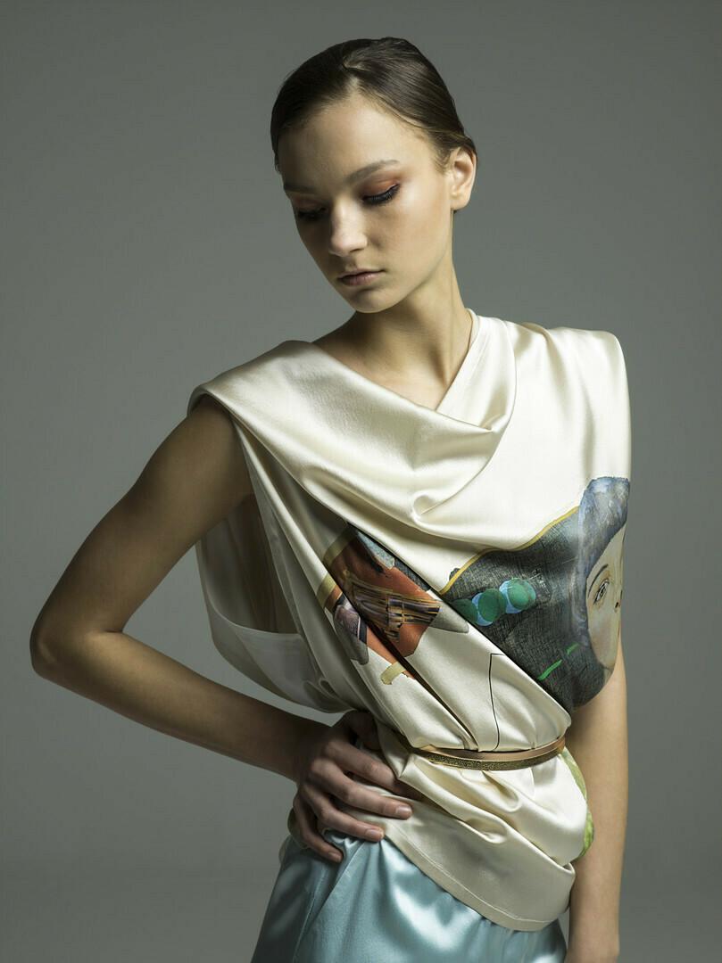 Pssst! Silk wrap-around top