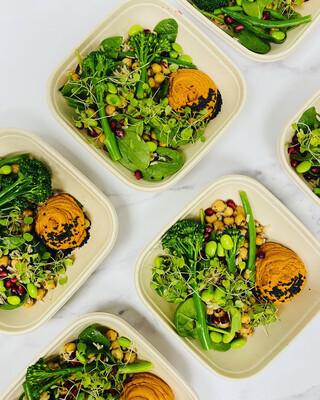 Sesame, Chickpea, Edamame Salad with Smoked Hummus