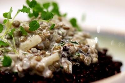 Tarragon Cream Lentils, Black Rice & Micro Greens