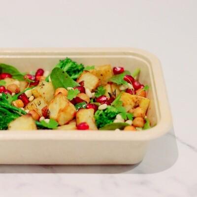 Paprika Chickpeas and Rosemary Baked Potato Salad, Pomegranate, Pine Nuts, Tender-stem