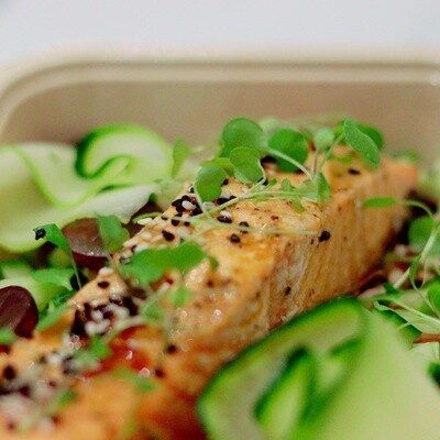 Ginger, Lime and Sesame Salmon Fillet, Asian Salad & Mixed Rice