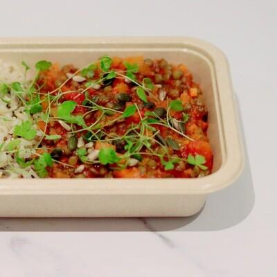Lentil Stew, Brown & Wild rice, Omega Seeds & Micro Greens