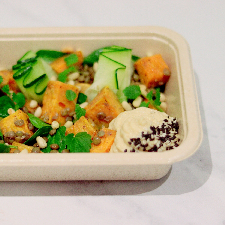 Puy Lentil & Sweet Potato Salad, Courgette Ribbons & Hummus