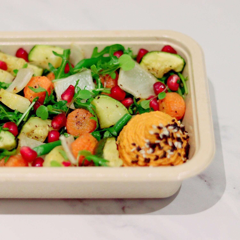Harvest Salad Served with Hummus, Pomegranate Seeds & Micro Leaves