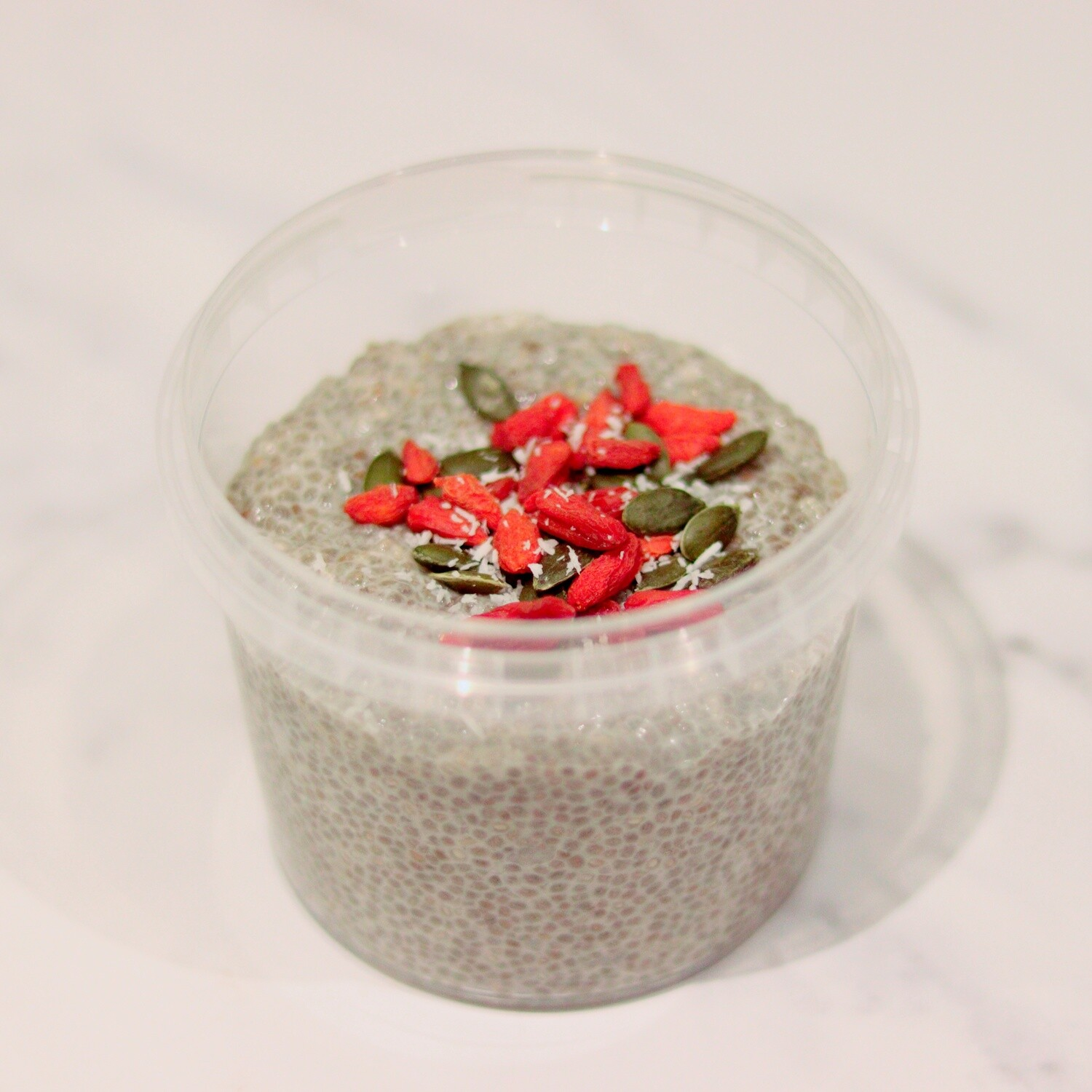 Vanilla-Almond Chia Pudding, Topped with Pumpkin Seeds & Goji Berries
