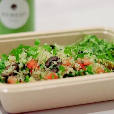 Quinoa, Olive, Tomato & Herb Tabouleh, Cashew Nut Pesto, Micro Greens