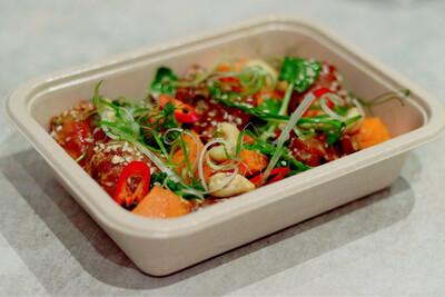 Honey-Garlic Chicken, Ginger Baked Sweet Potato & Asian Greens