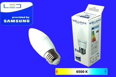 Էլ.լամպ LED Wellmax 8W neutral white (C37 E27 6500