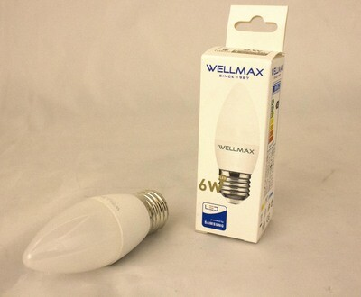 Էլ.լամպ LED Wellmax 6W neutral white (C37 E27 4000