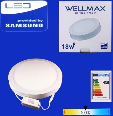 Էլ.պլաֆոն LED Wellmax կլոր արտաքին 18W 4000K