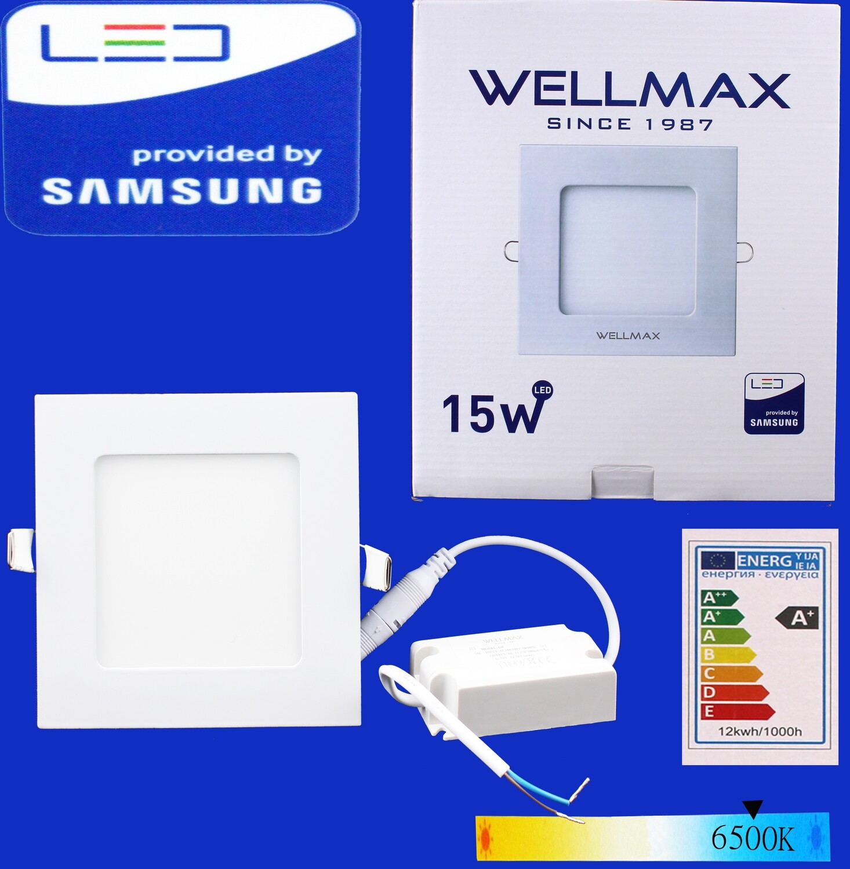 Էլ.պլաֆոն LED Wellmax քառակուսի 15W 6500K