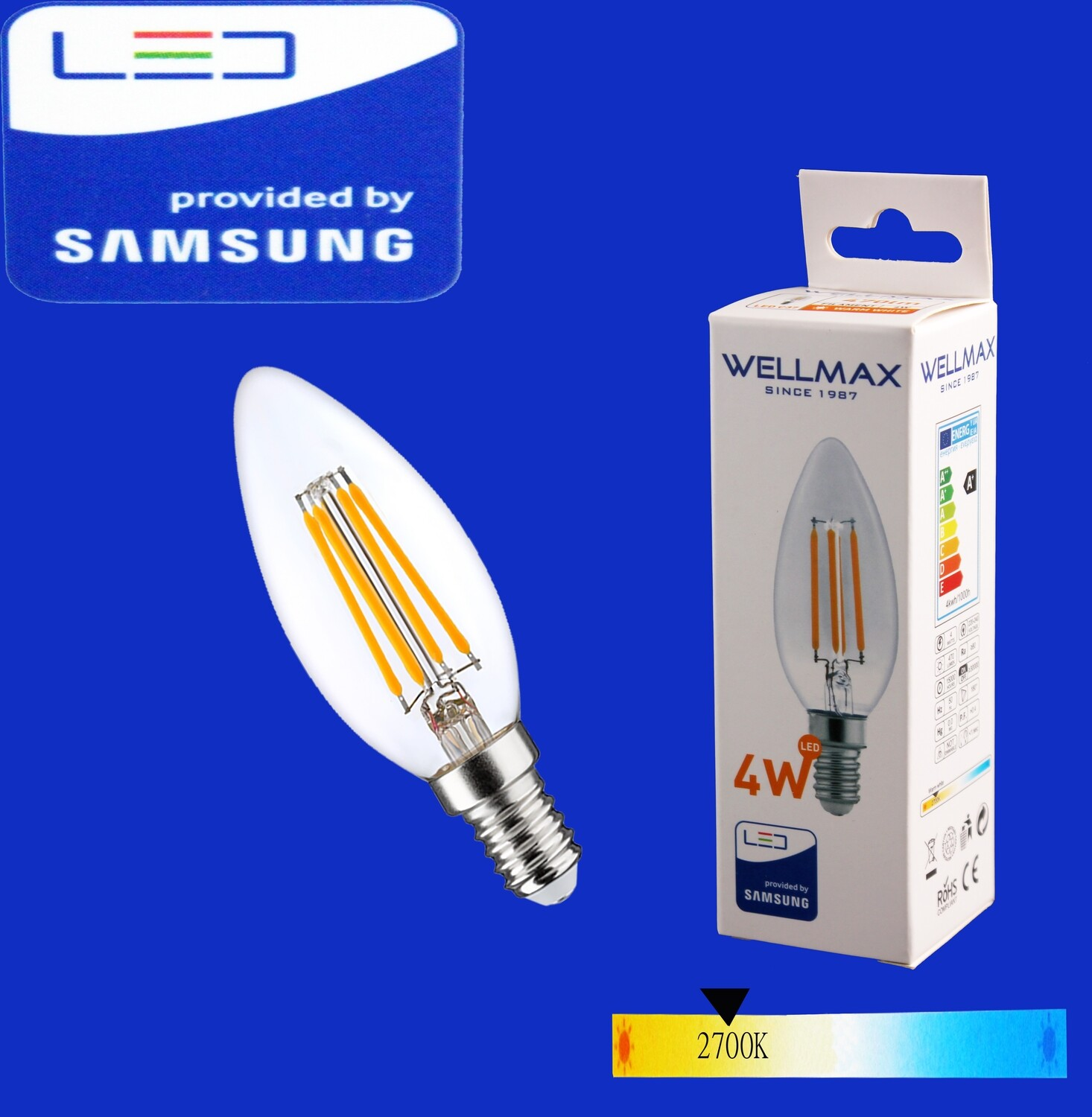 Էլ.լամպ LED Wellmax 4W warm white (C37 E14 2700K)