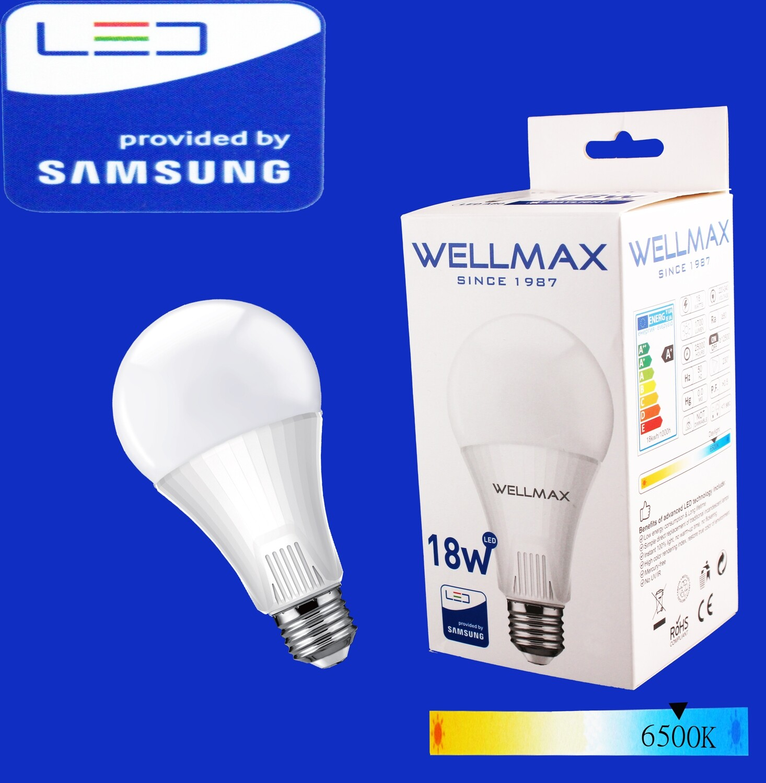 Էլ.լամպ LED Wellmax 18W daylight (A80 E27 6500K)
