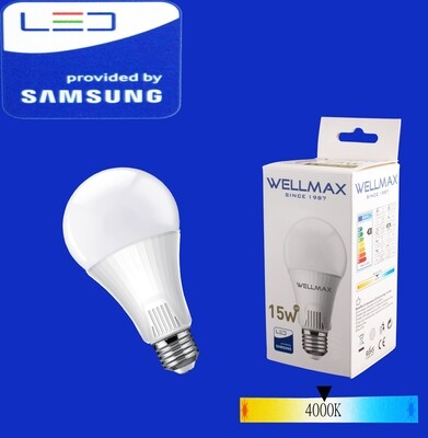 Էլ.լամպ LED Wellmax 15W neutral white (A65 E27 400