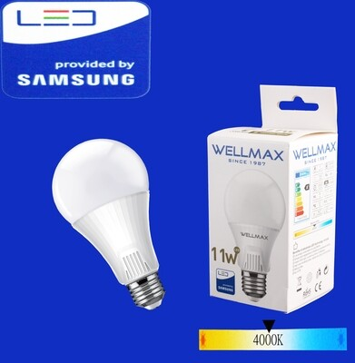 Էլ.լամպ LED Wellmax 11W neutral white (A60 E27 400