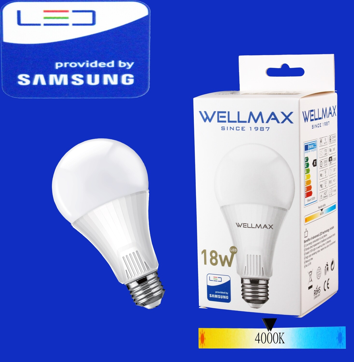 Էլ.լամպ LED Wellmax 18W neutral white (A80 E27 400