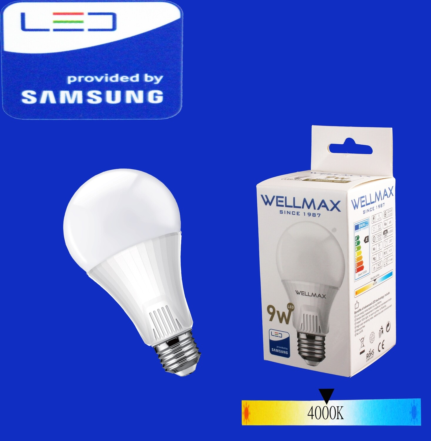 LED Լամպ Wellmax  9W neutral white A60 E27 400