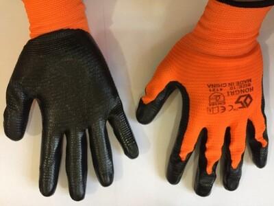 Բանվորական ձեռնոց (նարնջագույն, սև) HONGRI 4121