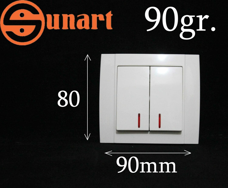 Sunart Էլ.անջատիչ ներքին 2 տեղ լույսով SR-2502