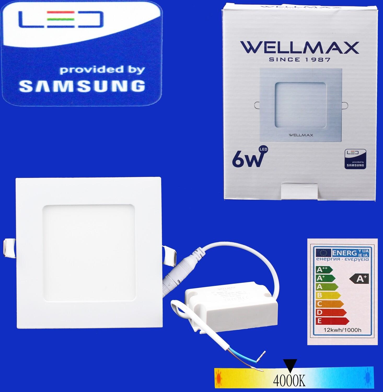 Էլ.պլաֆոն LED Wellmax քառակուսի 6W 4000K, Ограниченно годен
