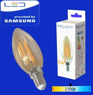 Wellmax Ֆիլամենտ ոսկի LED-E14-05W-2700K C35)
