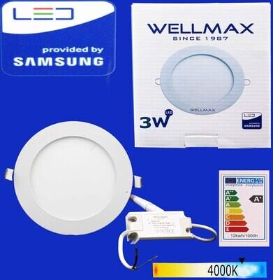 Էլ.պլաֆոն LED Wellmax կլոր 03W 4000K