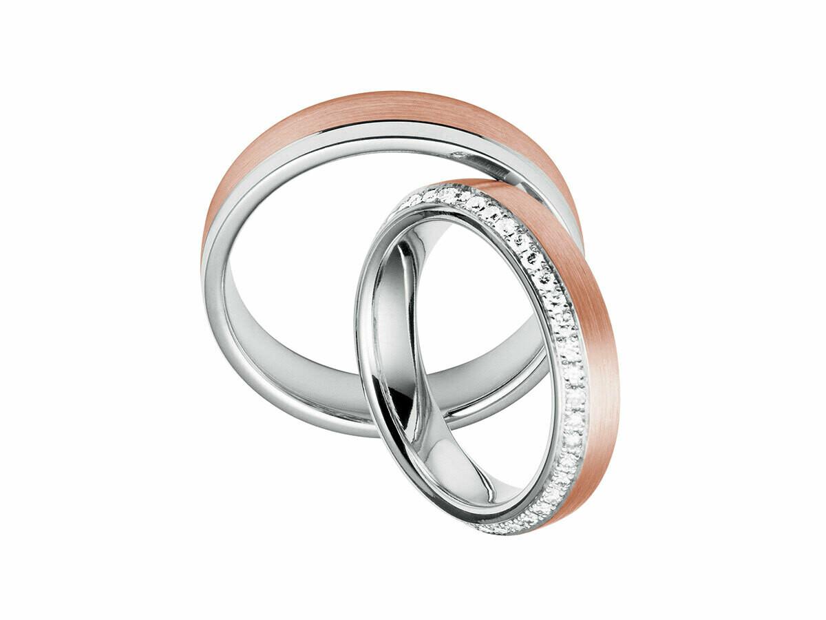 Eheringe Set Weißgold Rotgold Trauringe Ringe