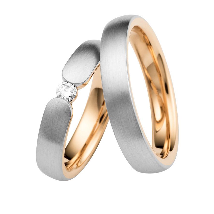 Eheringe Set Weißgold Mittelgold Trauringe Ringe
