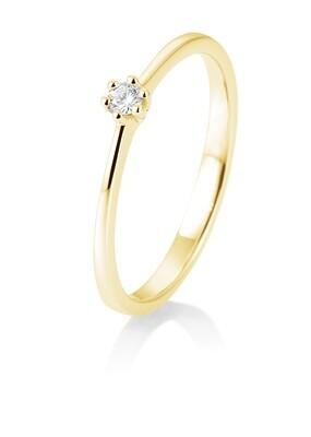 Verlobungsring Gelbgold 585 0,05ct w/si Solitär